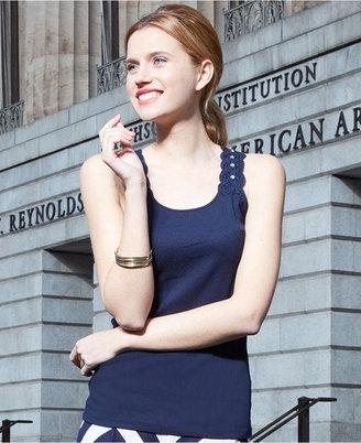 INC International Concepts Petite Top, Sleeveless Lace-Back Tank