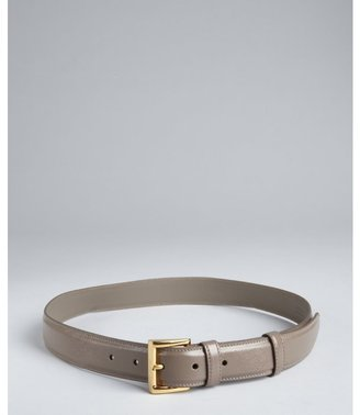 Prada cement grey saffiano leather square buckle belt