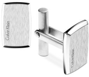 Calvin Klein Stainless Steel Polished and Brushed Rectangular Cuff Links