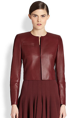 Akris Hasso Cropped Leather Jacket/Garnet