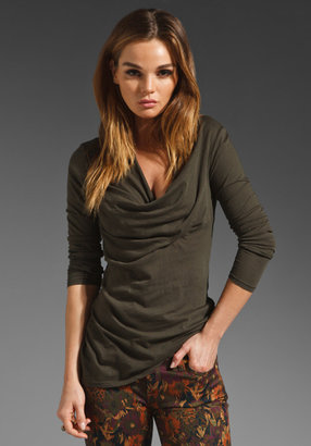 Bobi Light Weight Jersey Drape Neck Top