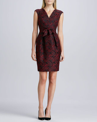 Carmen Marc Valvo Tie-Waist Jacquard Cocktail Dress