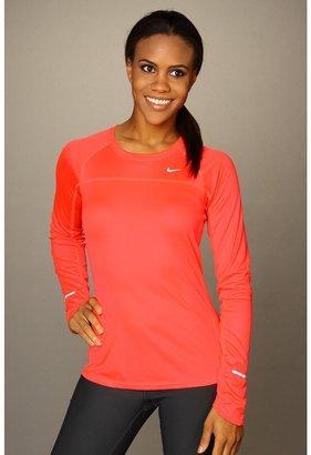 Nike Miler L/S Shirt (Bright Crimson/Bright Crimson/Reflect Silver) - Apparel
