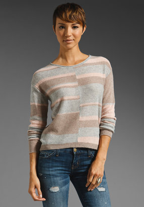 Rebecca Taylor Intarsia Pullover Sweater in Light Grey/Camel