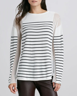 Alexander Wang Striped Sheer-Panel Pullover