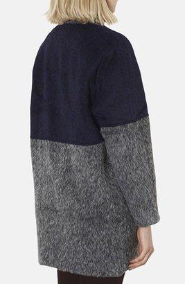 Topshop Two-Tone Textured Coat