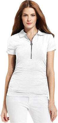 MICHAEL Michael Kors Top, Short-Sleeve Ruched Half-Zip