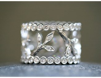 Cathy Waterman Three Leaf Band with Diamond Circles - Love Of My Life Collection