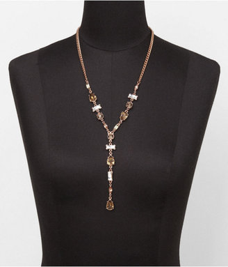 Express Mixed Faceted Stone Y Necklace