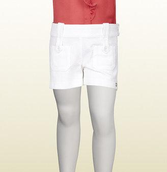 Gucci White Stretch Cotton Piquet Short