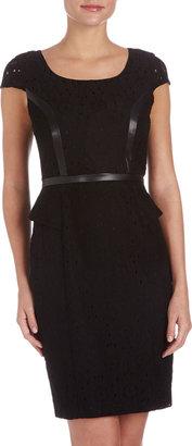 Marc New York Flower Eyelet Faux-Leather Dress, Black