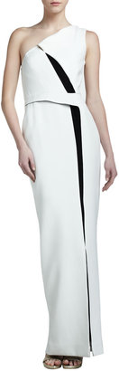 J. Mendel Colorblock Crepe One-Shoulder Gown