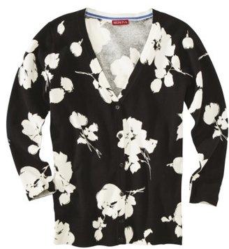 Merona Women's 3/4 Sleeve V-Neck Cardigan Sweater - Floral