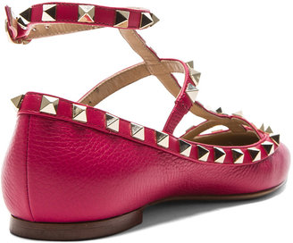 Valentino Rockstud Leather Ballerina Flats in Cyclamin