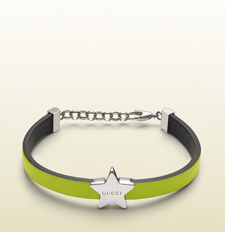 Gucci Bracelet In Yellow Leather With Sterling Silver Star