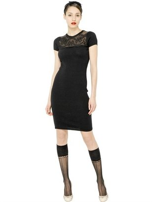 RED Valentino Virgin Wool With Chantilly Lace Dress