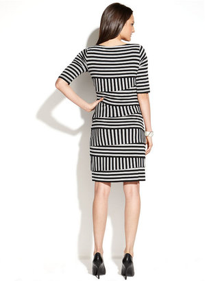 Vince Camuto Short-Sleeve Striped Tiered Sheath