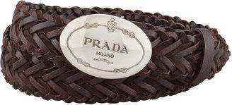 Prada Woven Leather Logo Belt, Dark Brown