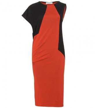 Pringle DRAPE DRESS IN BURNT ORANGE AND BLACK