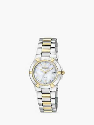 Citizen EW1534-57D Women's Eco-Drive Mother of Pearl Two Tone Bracelet Strap Watch, Silver/Gold