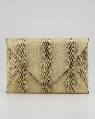 BCBGMAXAZRIA Harlow Snake-Embossed Evening Clutch, Gold