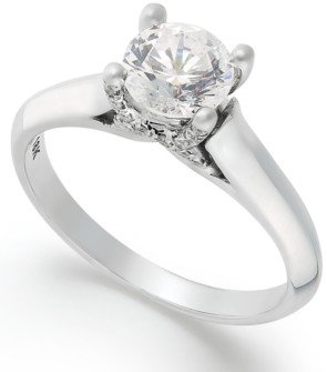 Macy's X3 Certified Diamond Solitaire Engagement Ring in 18k White Gold (1 ct. t.w.), Created for
