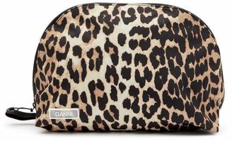 Ganni Leopard Print Tech Fabric Toiletry Bag