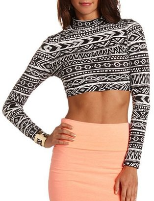 Charlotte Russe Cotton Mock Neck Crop Top