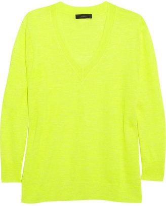 J.Crew Neon fine-knit linen-blend sweater