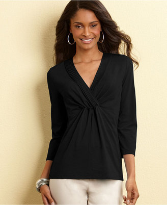 Charter Club Top, Pleated V-Neck Knit