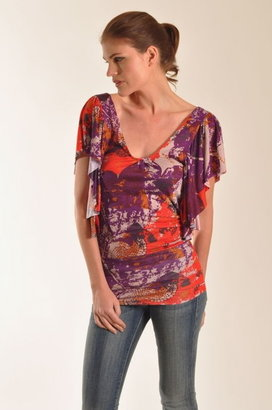 T-Bags Flutter Sleeve U-Neck Top with Drape Back in Purple Print