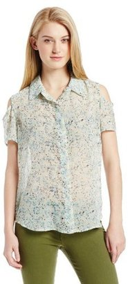 BCBGeneration Women's Printed Cold-Shoulder Button-Front Shirt