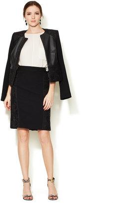 Monique Lhuillier Wool Crepe Lace Skirt