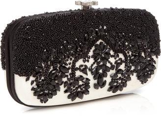 Oscar de la Renta Goa Bead-Embellished Satin Clutch