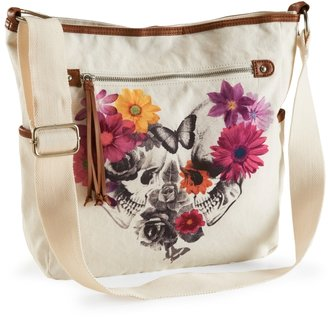 Aeropostale Garden Skulls Canvas Crossbody Bag