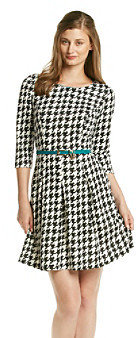 Amy Byer Belted Ponte Houndstooth Dress