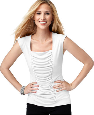 Style&Co. Top, Sleeveless Ruched Shaper Tank