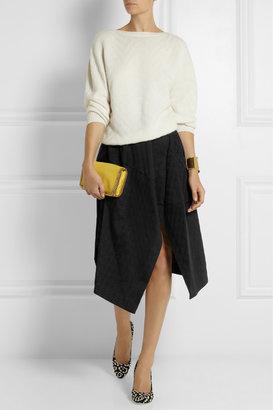 Stella McCartney Houndstooth cotton-blend jacquard midi skirt