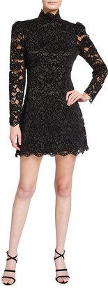 LIKELY Cupani Mock-Neck Lace Mini Dress