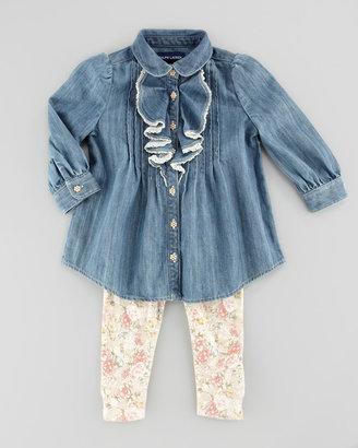 Ralph Lauren Denim Tunic & Floral-Print Leggings Set, Mayberry, 3-9 Months