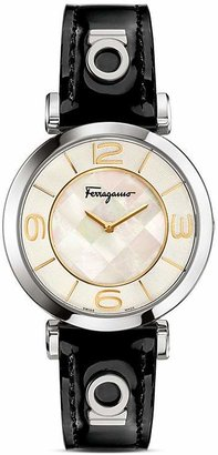 Salvatore Ferragamo Gancino Deco Stainless Steel Watch, 39mm $995 thestylecure.com