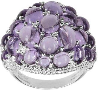 Judith Ripka Sterling Amethyst & Diamonique Cluster Ring