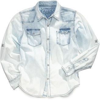 GUESS Boys' Bleached Denim Shirt