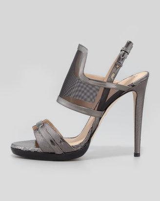 Reed Krakoff Solar Metallic Snake & Mesh Sandal