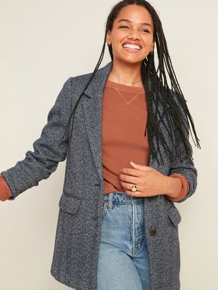 Old Navy Oversized Soft-Brushed Tweed Blazer Jacket for Women