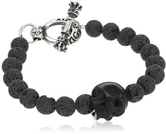 "King Baby 8mm Lava Rock Bead Jet Skull and Silver Toggle Bracelet, 7.5"" $280 thestylecure.com"