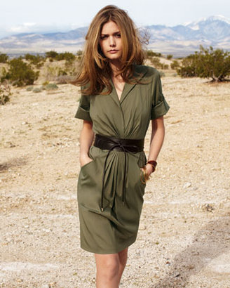 Lafayette 148 New York Center-Ruched Dress With Belt