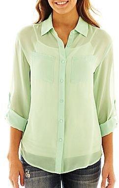 JCPenney Decree® Long-Sleeve Button-Front Shirt