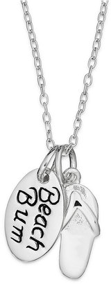 """Unwritten Sterling Silver Necklace, Flip Flop and """"Beach Bum"""" Charm Pendant Web ID: 906306"""
