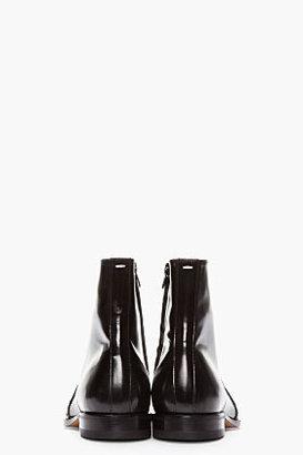Maison Martin Margiela Black Patent Leather Semi-Brogue Boots
